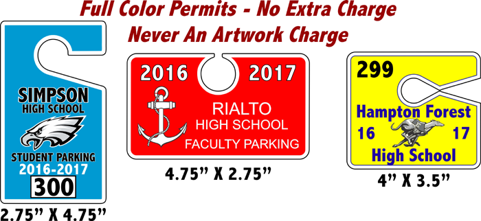 Custom Hang Tag Parking Permit Samples