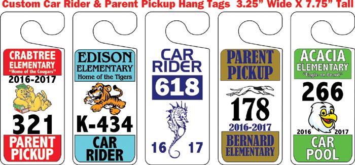 Parent Pickup Hang Tags Car Rider Passes Car Pool Hang Tags
