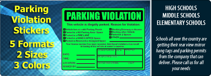 Parking Violations Stickers and Illegal Parking Warning Stickers