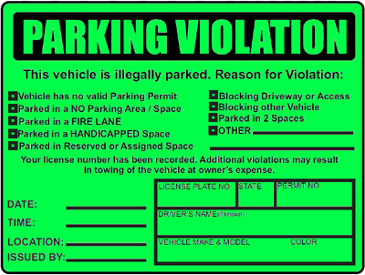 Parking Violations Stickers - Custom Illegally Parked Warning ...