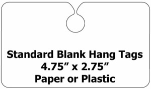 Standard Size Blank Plastic Hang Tags