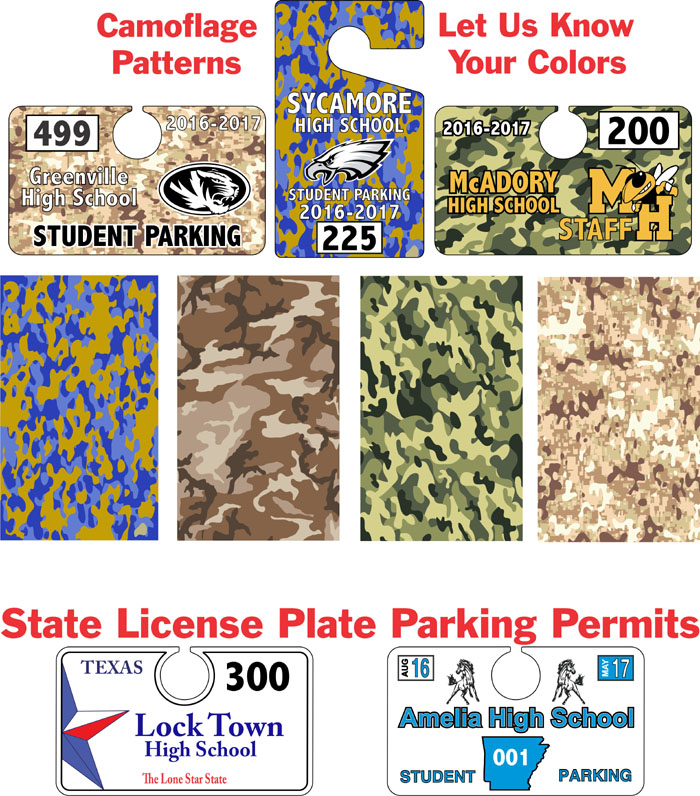 Camouflage Hang Tag Parking Permits